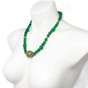 Jade Necklace Brass Glass Bead Green Handmade Boho